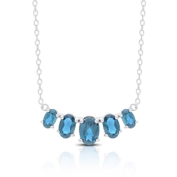 Dolce Giavonna Sterling Silver London Blue Topaz Five Stone Bib Necklace