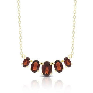Dolce Giavonna Gold Over Sterling Silver Gemstone Five Stone Bib Necklace