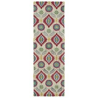 Handmade de Leon Wool Beige Boho Rug (2'6 x 8'0)
