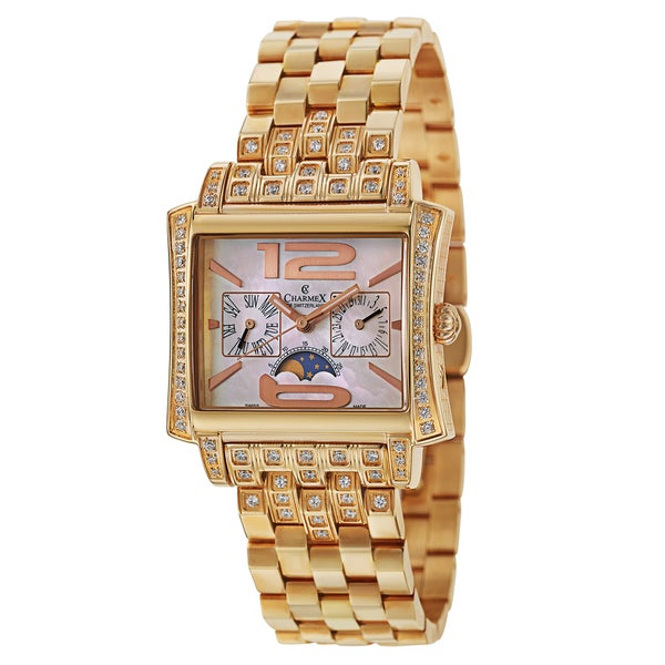 Charmex Cap Ferrat 6028 Women's Stainless Steel Rose Gold Plated and Cubic Zirconia Watch