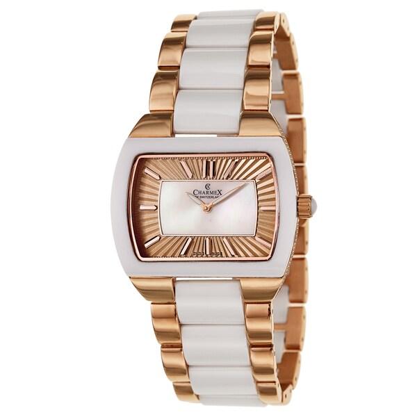 Charmex Corfu 6247 Women's White Ceramic and Rose Gold Plated Watch