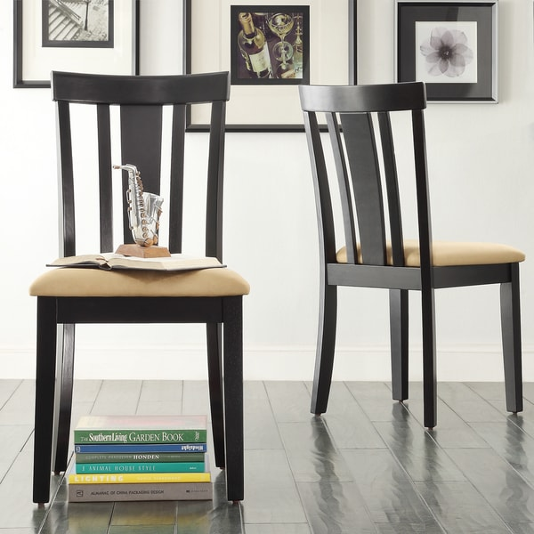 TRIBECCA HOME Wilmington Black Slat Back Dining Chair (Set of 2) (As Is Item)