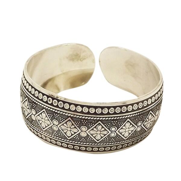 Silver Flower Vintage Bangle Cuff Bracelet