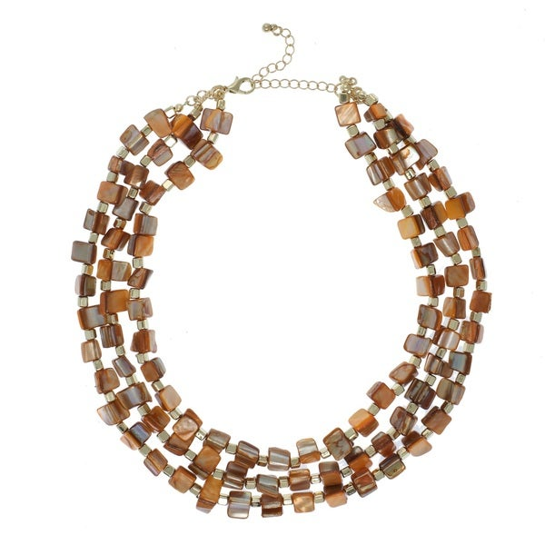 Alexa Starr 3-Row Brown & Goldtone Shell Beaded Statement Necklace