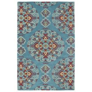 Handmade de Leon Wool Teal Suzani Rug (8'0 x 10'0)