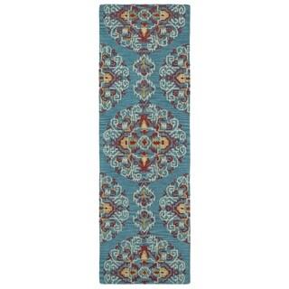 Handmade de Leon Wool Teal Suzani Rug (2'6 x 8'0)