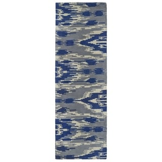 Handmade de Leon Wool Grey & Blue Ikat Rug (2'6 x 8'0)