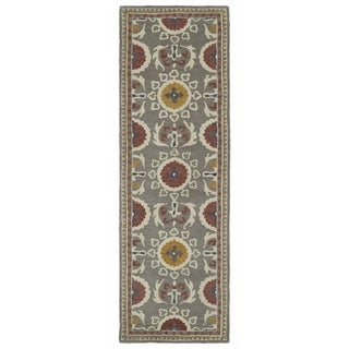 Handmade de Leon Wool Grey Boho Rug (2'6 x 8'0)