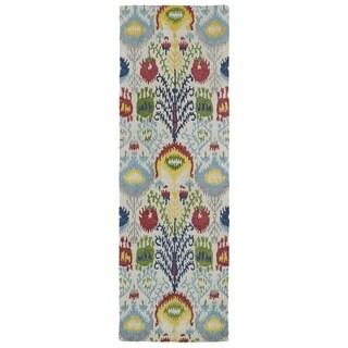 Handmade de Leon Wool Multi Ikat Rug (2'6 x 8'0)