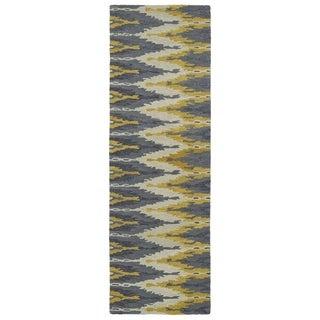 Handmade de Leon Wool Grey & Gold Ikat Rug (2'6 x 8'0)