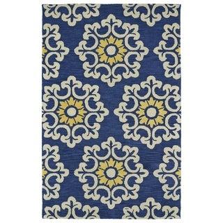 Handmade de Leon Wool Blue Suzani Rug (8'0 x 10'0)