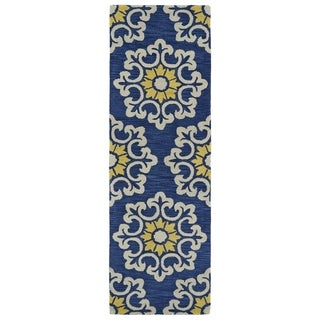 Handmade de Leon Wool Blue Suzani Rug (2'6 x 8'0)