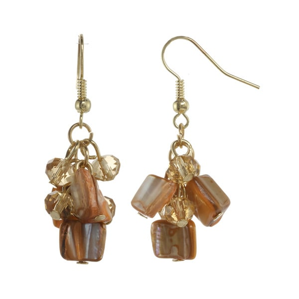 Alexa Starr Brown Shell & Goldtone Bead Cluster Drop Earrings