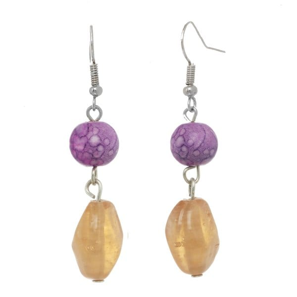 Alexa Starr Purple Double Bead Drop Earrings