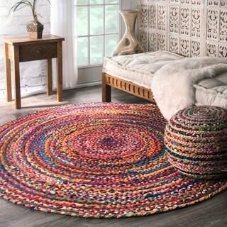 nuLOOM Casual Handmade Braided Cotton Multi Round Rug (8' Round)