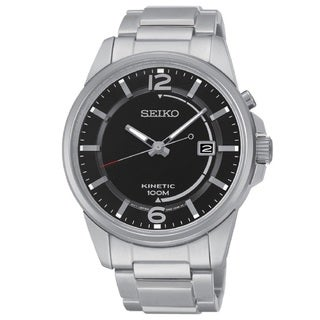 Seiko Men's SKA671 Stainless Steel Kinetic Movement 100M Water Resistant, Date Watch with 6 Month Power Reserve