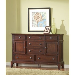 Lancaster Dresser 7 Drawers, 2 Doors in Brown Cherry