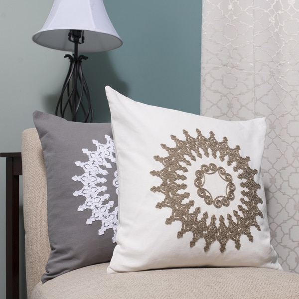 Luxury Linen Blend Embroidered Decorative Throw Pillow Shell With Insert Options