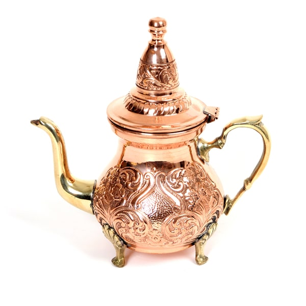 Hand Hammerred Teapot Hand Carved Red Copper Serving Teapot Tea Kettle Handmade (Tunisia)