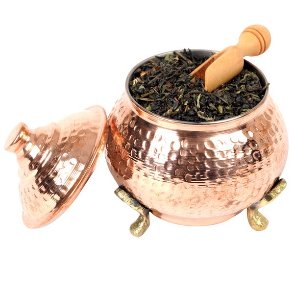 Handmade Medium Copper Sugar Bowl Hand Hammered Tea Canister (Tunisia)