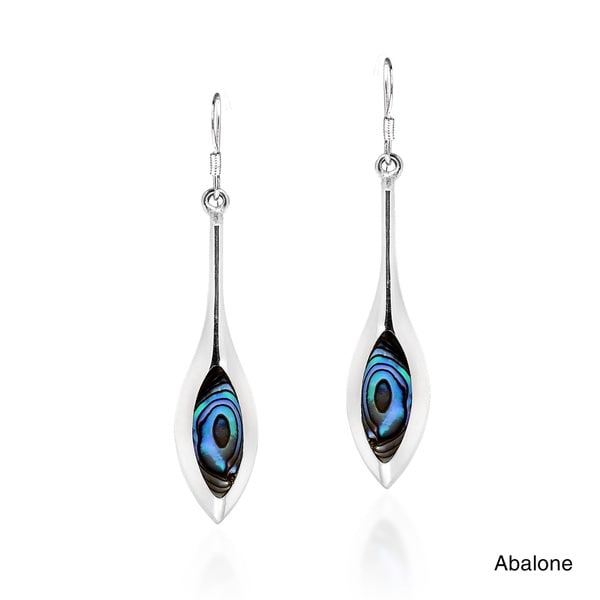 Modern Long Icicle Stone Sterling Silver Dangle Earrings (Thailand)