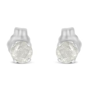 Sterling Silver 1/2 CTTW Diamond Stud Earrings (I-J, I2-I3)
