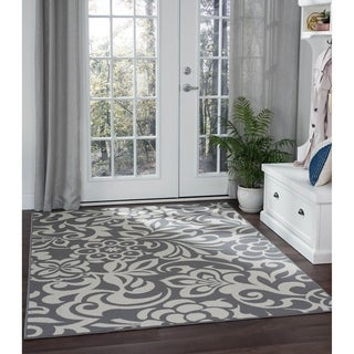 Alise Garden Town Transitional Floral Blue, Grey Area Rug (5'3 x 7'3)
