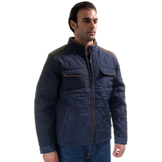 Men's Quilted Fur Lined Zip Up Jacket with Suede Piping/ Cargo Pockets