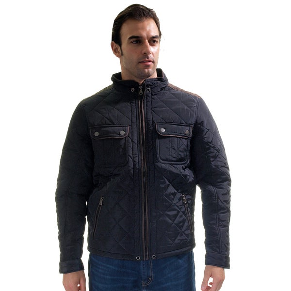 Men's Quilted Fur Lined Zip Up Jacket with Suede Piping/ Side Zip Pocket