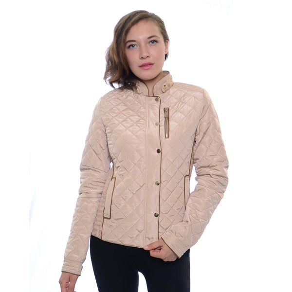 Women's Fur Lined Quilted Jacket with Gathering Side Panels
