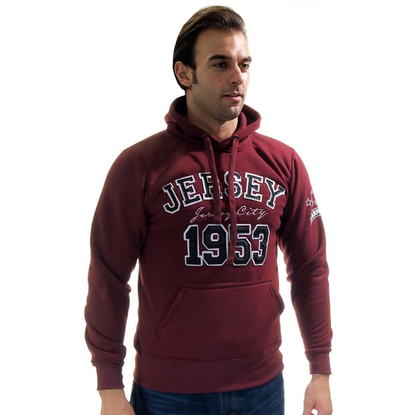 Men's Pull Over Fleece Double Hood Embroidered Sweatshirt