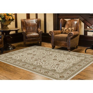 Alise Fairview Traditional Oriental White Area Rug (5'3 x 7'3)