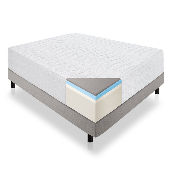 LUCID 16-inch Queen-size Memory Foam and Latex Hybrid Mattress