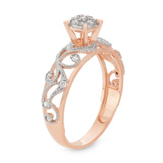 David Tutera 10k Rose Gold 1/4ct TDW Diamond Filigree Ring (H-I, I1-I2)