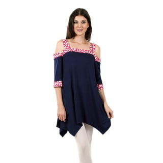 Firmiana Women's 3/4-Length Sleeve Blue and Pink Sidetail Tunic