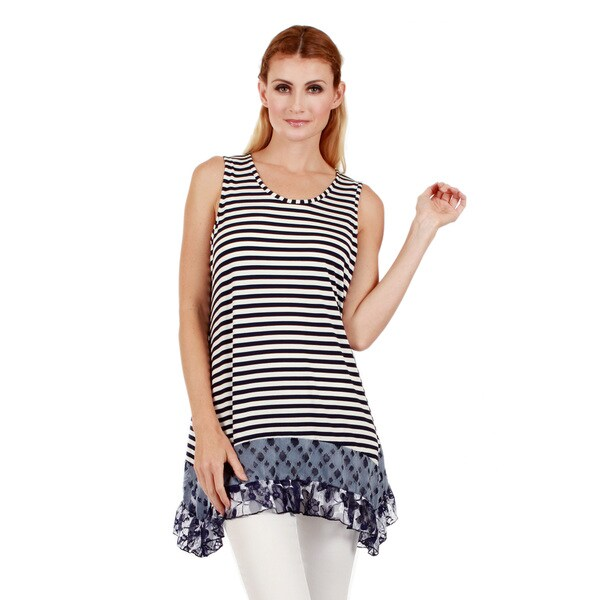 Firmiana Women's Sleeveless Blue and White Striped Tunic