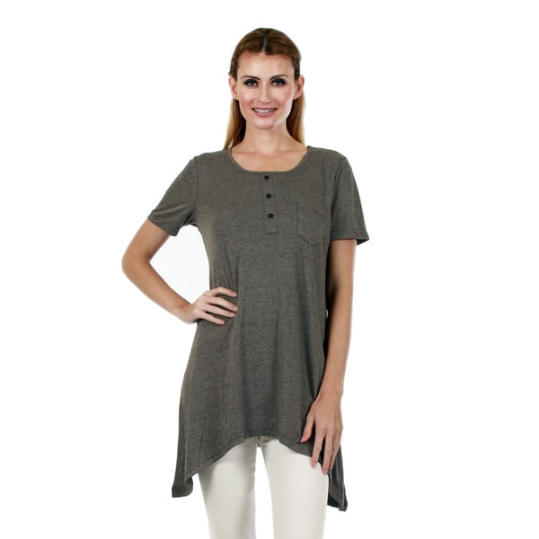 Firmiana Women's Short-Sleeve Grey Sidetail Tunic