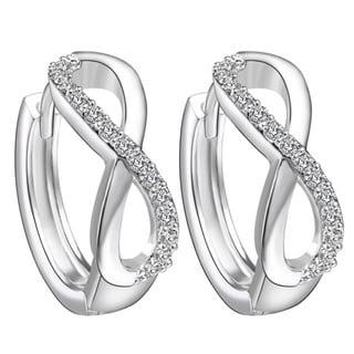 18k White Gold Overlay Crystal Hoop Infinity Earrings