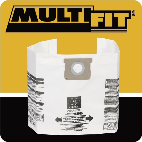 Multi-Fit VF2005TP General Dust 10 to 14-gallon 6-pack Filter Bags for Wet Dry Shop Vacuum