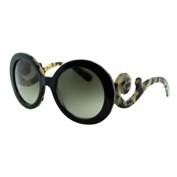 Prada Women PR 27NS ROK4M1 Top Black On White Havana Round Plastic Minimal-Baroque Edition Fashion Sunglasses