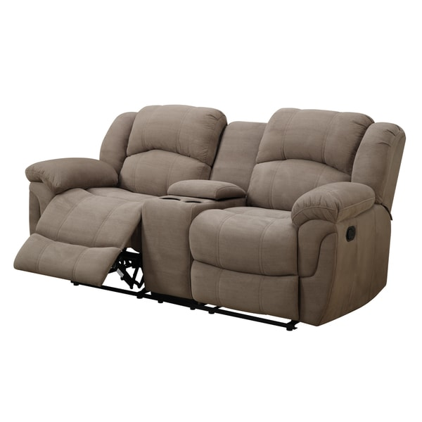 Hadley Ii Padded Microfiber Motion Loveseat With Console