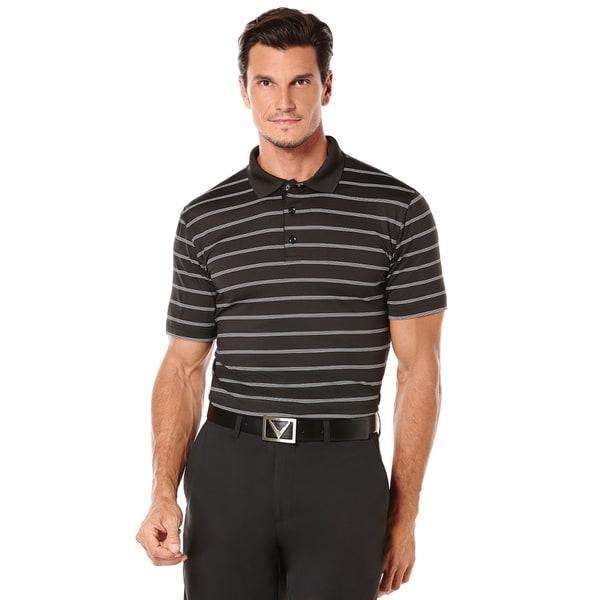 Callaway Ventilated Stripe Golf Polo - Mens - Caviar