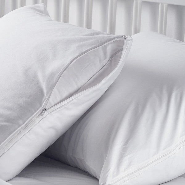 Waterproof and Dust Mite-Proof Pillow Covers with Zippered Closure (Set of 2)