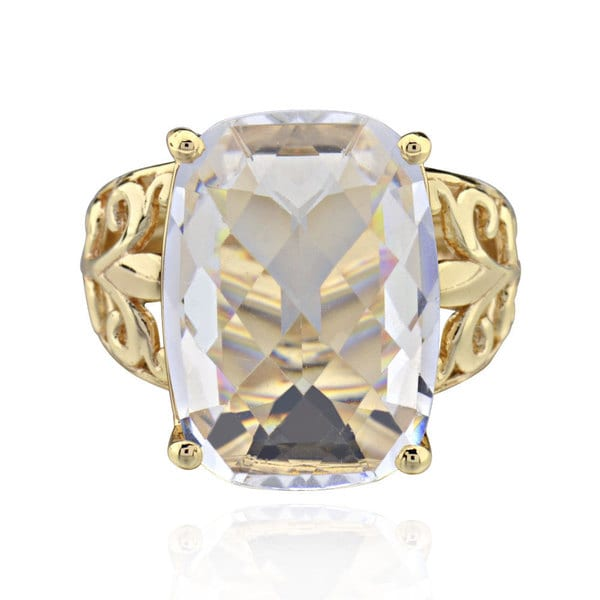 Sterling Silver Goldplated Rectangle Crystal Ring (China) 16792894