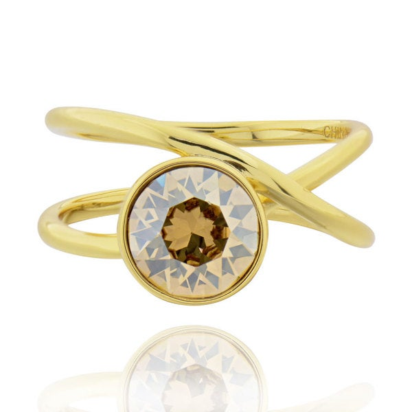 Sterling Silver Goldplated Crystal Solitaire Ring (China) 16792971