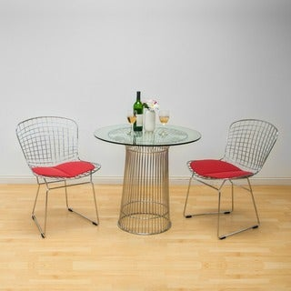 Nat Chromed Steel 3 Piece Dining Set