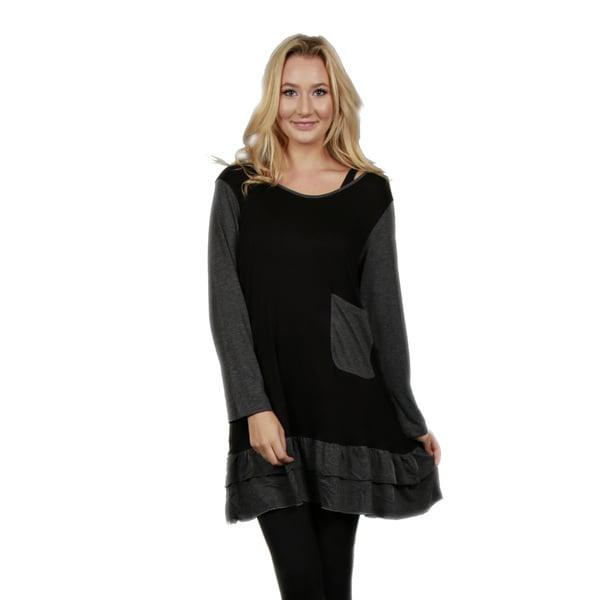 Firmiana Women's Long-Sleeve Pocket and Ruffle Grey and Black Tunic