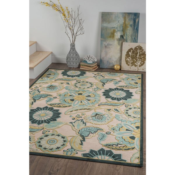 Alise Chenille Transitional Floral Blue Area Rug 7 8 X 10