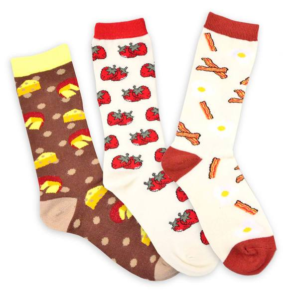 TeeHee Food Women's Cotton Bacon-Hamburger-Cheese-3 Pk
