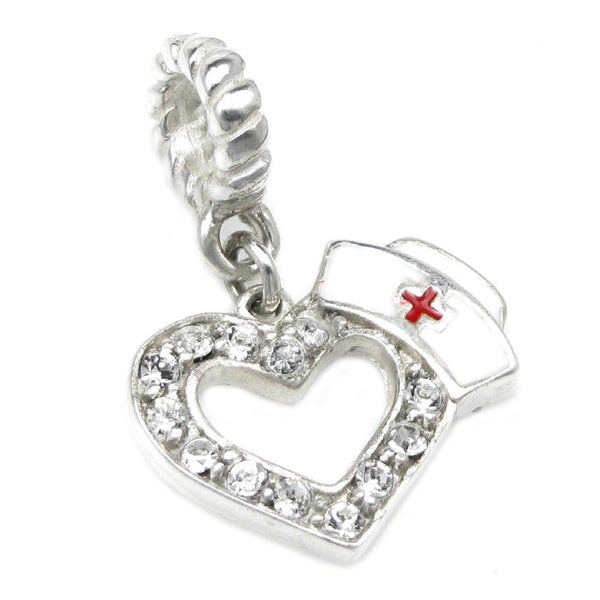 Queenberry Sterling Silver Heart Love with Nurses Cap Hat Clear Crystal Enamel RN Red Cross Dangle European Bead Charm